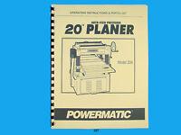 "Powermatic Model 208   20""  Planer Operating Instruction & Parts Manual *287"