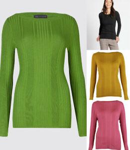 M-amp-S-Marks-Spencer-Womens-Ribbed-Knit-Jumper-Black-navy-Purple-Grey-Mustard