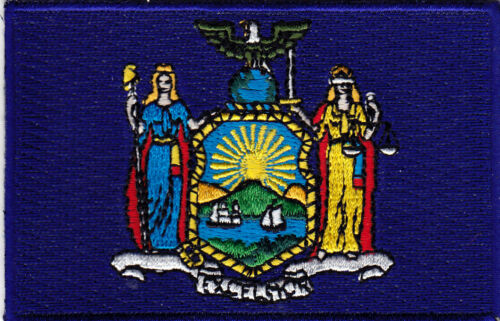 NEW YORK STATE FLAG iron On Embroidered Applique Patch Flag of New York