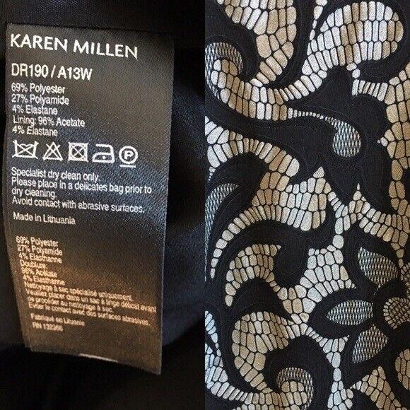 Taglia 12 UK Karen Millen argentoo Pizzo Pizzo Pizzo Nero Floreale Jacquard Effetto Abito A Matita 87efeb