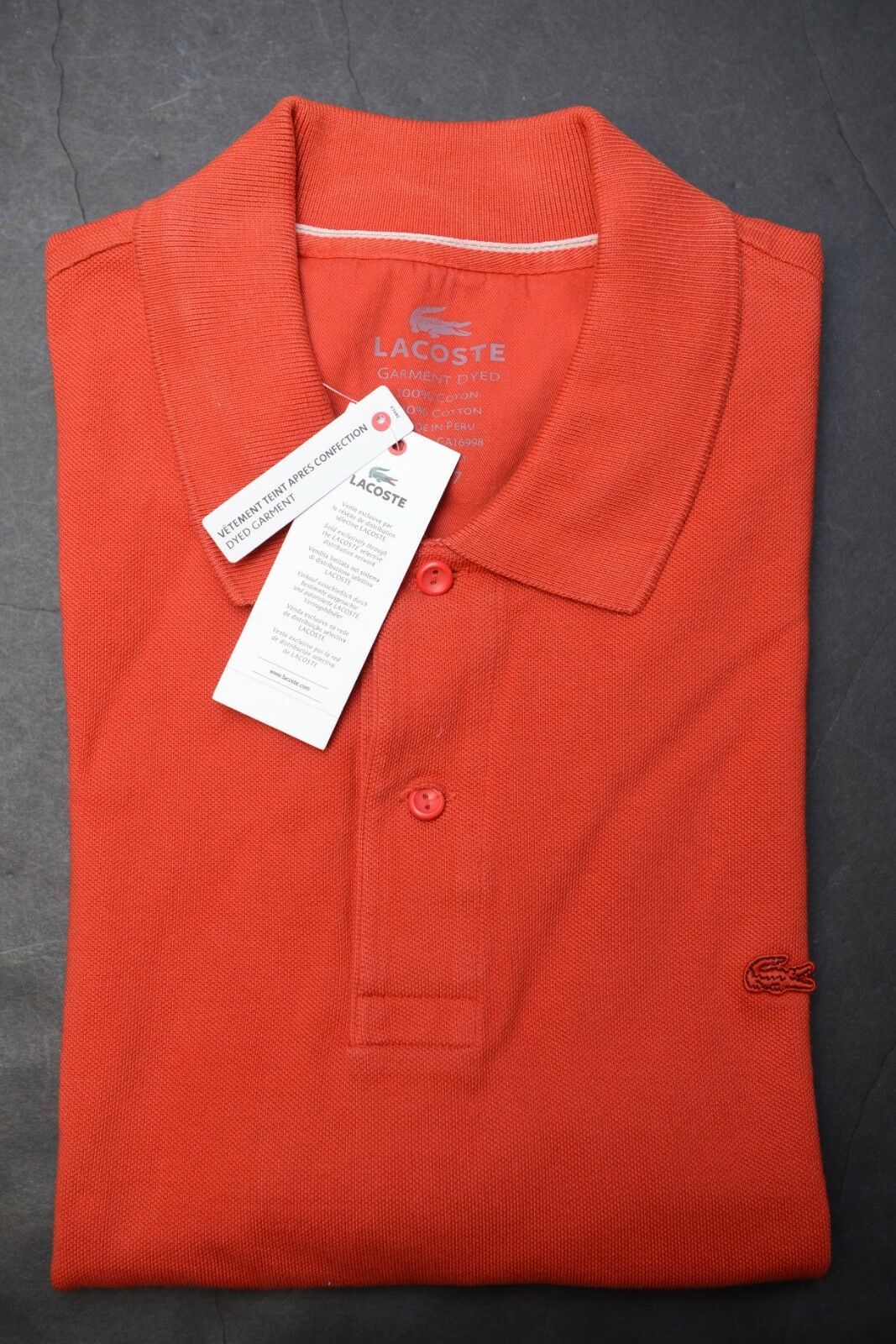 93ec4dfff Lacoste Men s Regular Fit Dyed Garment Red Mesh Cotton Polo Shirt ...
