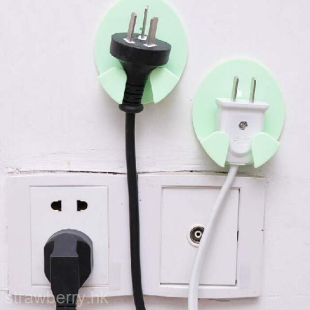 2 Pcs Family Home Hook Power Plug Socket Wall Hook Hanger Organizer Organization