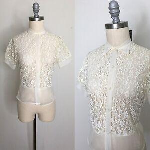 Vintage-50s-Sheer-Nylon-Lace-Blouse-Size-Small-Medium