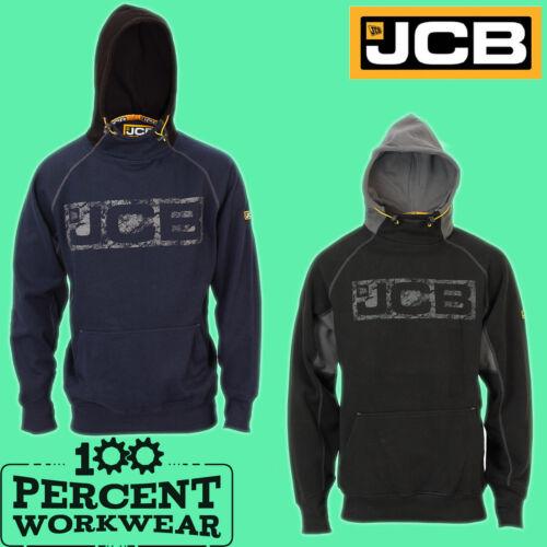 New Genuine JCB Heavyweight Hooded Top Hoodie Hoody Sweatshirt Black Navy Blue