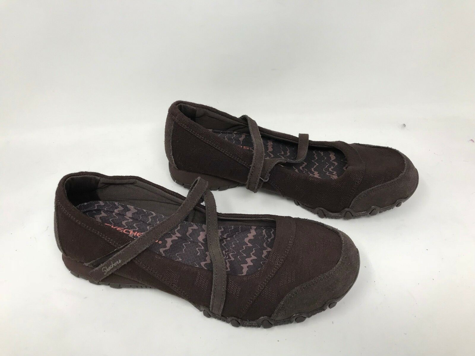 New  Womens Skechers 49405 Relaxed Fit Bikers - Get Up Mary Janes- Chocolate C14