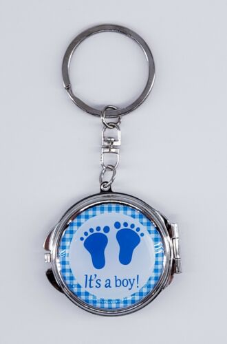 12X Baby Foot Blue Boy Compact Mirror Keychains Baby Shower Party Favor