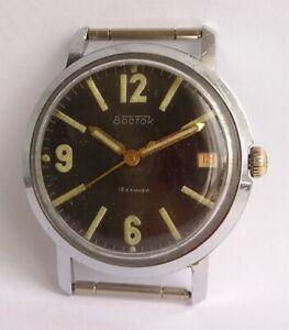 Vintage-Soviet-Watch-VOSTOK-18-jewels-Date-Mechanical-USSR-Black-Dial-Military