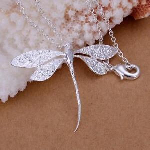 ASAMO-Damen-Halskette-mit-Anhaenger-Libelle-925-Sterling-Silber-plattiert-H1076