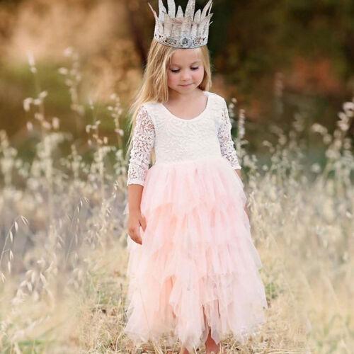 Girls Princess Dress Kids Long Sleeve Party Wedding Pageant Lace Tutu Dresses