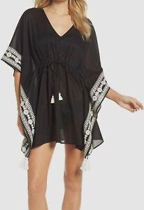 $345 Tory Burch Women's Black Ravena Shibori Caftan Swimwear Cover-Up Dress XS