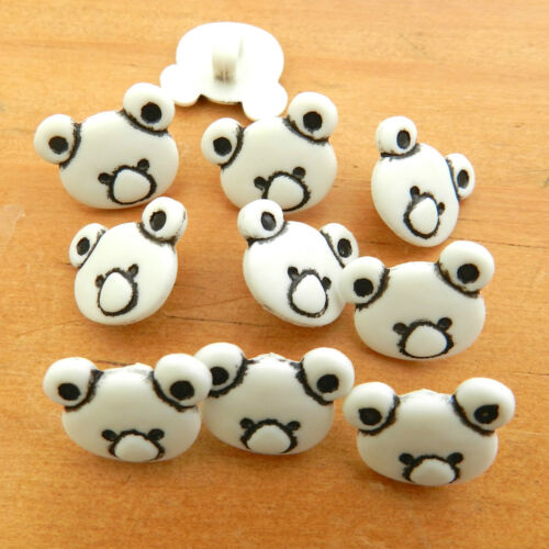 10 x cute teddy bear buttons  blue green lemon cream white brown lilac 15mm *