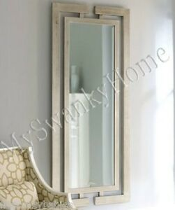 Extra Long Contemporary Silver Leaf Wall Mirror Modern