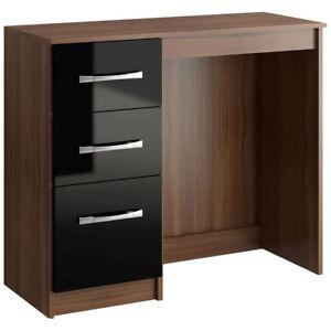 High-Gloss-Walnut-3-Drawer-Dressing-Table-Desk-Black-Cream-White