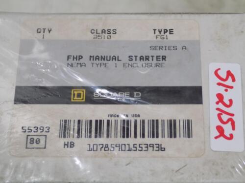 SQUARE D CLASS 2510 FHP MANUAL STARTER FG1 SER A NIB *LOT OF 3*