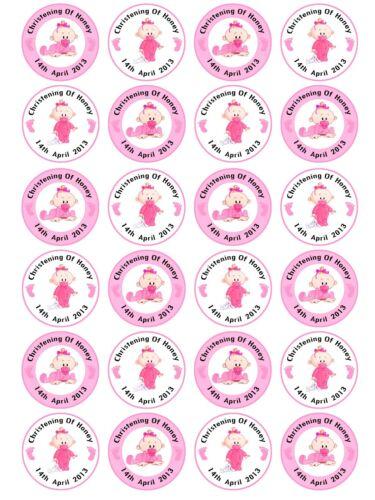 24 X Personnalisé Baptême Baptême Baby Shower Garçon Teddy Gâteau Cupcake Toppers