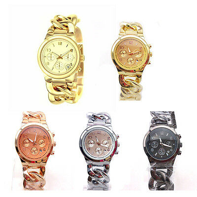 Fashion Stylish Colors Womens Lady Stainless Steel Band Quartz Date Wristwatch