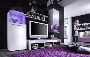 Wohnzimmer Wohnwand weiß Glanz schwarz Punch 230 cm Schrankwand MIT Beleuchtung