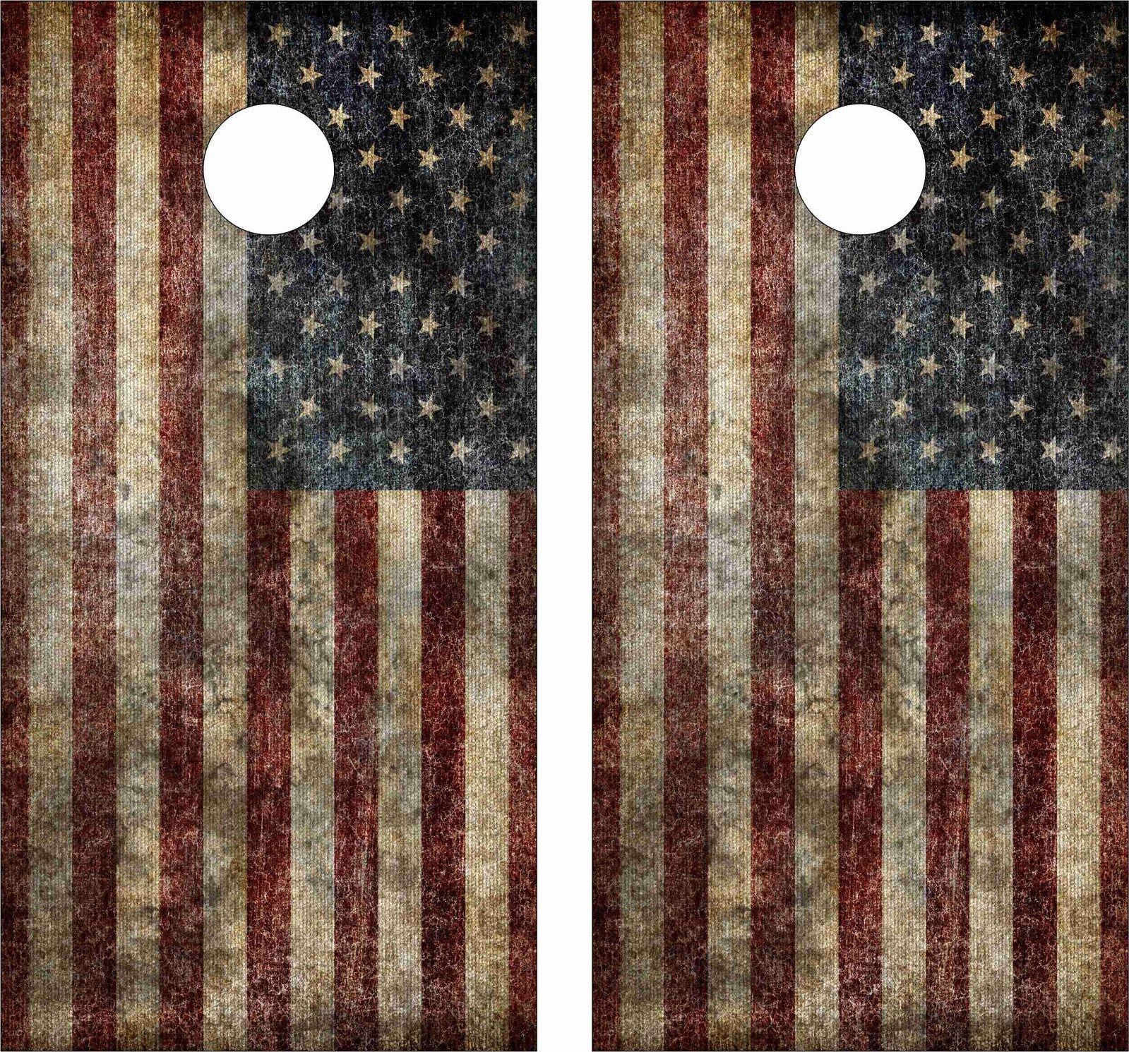 OLD AMERICAN FLAG .Cornhole Board Game Decal  Wraps USA High Quality Image bag  popular