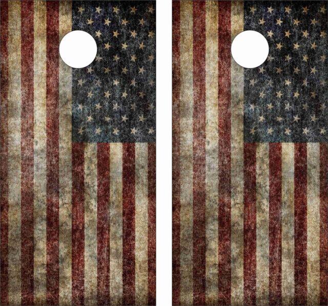 OLD AMERICAN FLAG .Cornhole Board Game Decal Wraps USA High Quality Image bag