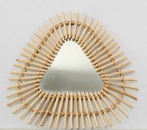 Joli-miroir-forme-triangle-soleil-en-rotin-style-vintage-annees-60-60-cm