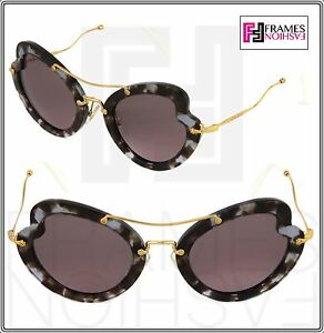MIU MIU SCENIQUE Butterfly 11R Lilac Havana Purple Gold Sunglasses ... 0ba3b22e46