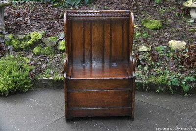 TITCHMARSH AND GOODWIN SOLID OAK MONKS BENCH BOX SETTLE PEW SHOE CHEST ARMCHAIR