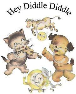 Image Is Loading Vintage Retro Nursery Rhyme Hey Diddle