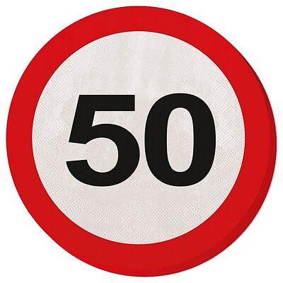 20 Servietten Verkehrsschild 50 Geburtstag Deko Tischdeko Party Schild Jubiläum