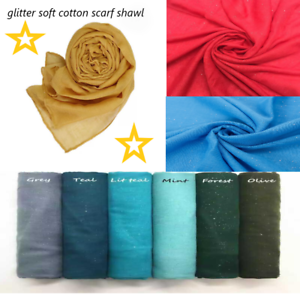 Ladies Womens Shawl Scarf Hijab Wrap Plain Glitter Viscose Cotton Summer