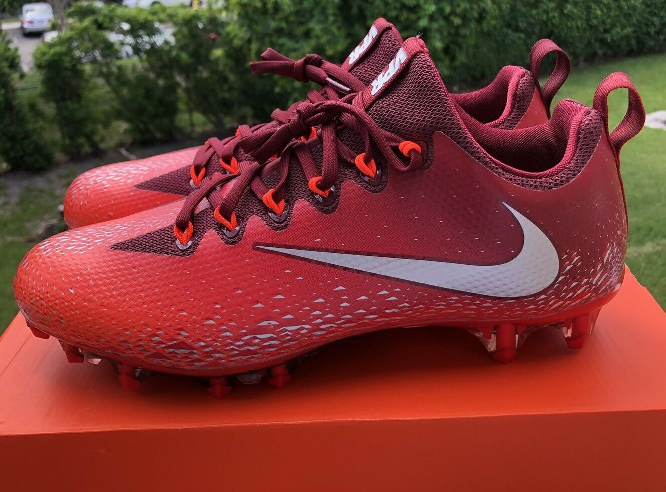 Nike Vapor Untouchable Pro Red Silver Football Cleats Size 10 833385-608