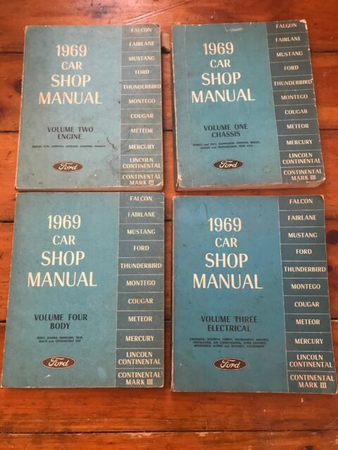 1969 Ford Car Shop Manual Repair Volume 1 2 3 4 Wiring Diagram Mustang Cougar