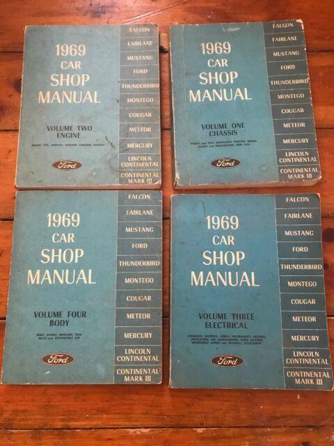 1969 Ford Car Shop Manual Repair Volume 1 2 3 4 Wiring ...