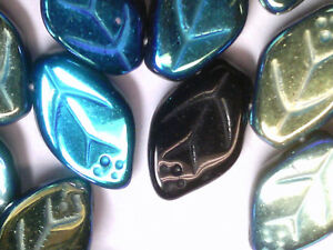 VTG 50 IRIDESCENT AB SKY BLUE GLASS VEINED LEAVES PRESSED BEAD #110618e 12X7mm