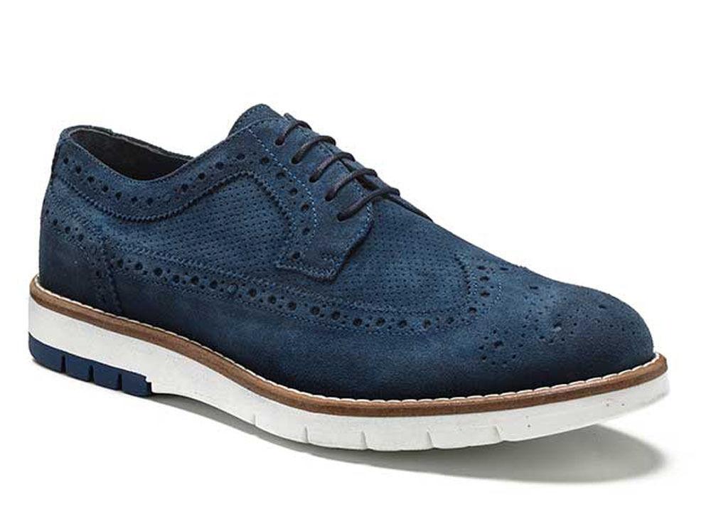 Scarpe casual da uomo  KEYS 3045 AVIO scarpe uomo francesine inglesine sneakers mocassini camoscio