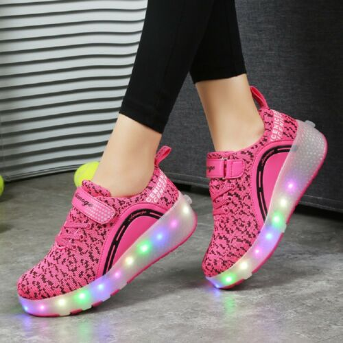 Ships from US NEW Kids Roller Skate Shoes with Wheel Shoes Sneaker LED Light