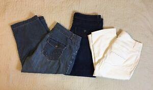 Sonoma Lee Riders Shorts Capris Women Size 12 34/35 Waist Blue White Lot Of 3 Women's Clothing