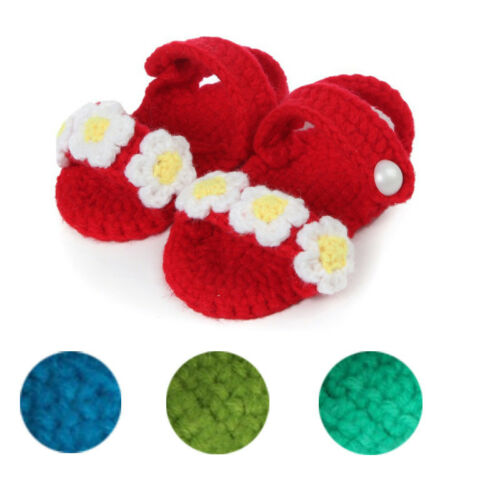 Crib Shoes Girls Toddler Knit Sock Sandal Shoes Crochet Handmade Infant Shoes