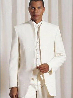 MYS Mens Custom Made Classic Notch Wedding Tailcoat Suit Pants Tie Set Ivory