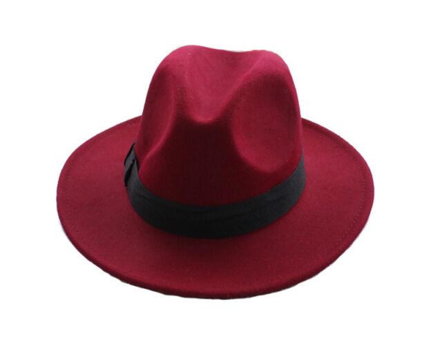 Unisex Jazz Wool Felt Bowknot Ribbon Band Hard Bowler Derby Hat Fedora Cap 57cm