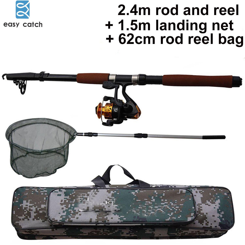 2.4M Fishing Rod and Reel Combo Hand Net Portable Telescope Adjustable Rod Kits