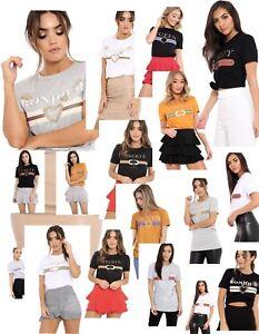 Ladies-Women-Guilty-Liberte-Queen-Casual-Top-Slogan-Striped-Bonjour-T-Shirt-Vest