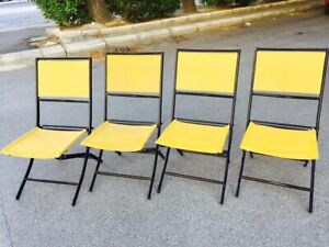 Set-4-sedie-VINTAGE-folding-richiudibili-in-ferro-e-corda