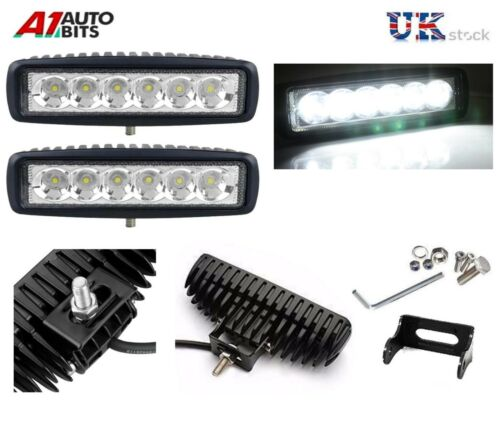 2 Pcs 18W 6 LED Work Light Driving Lamp 12V 24V Offroad car boat Truck Bike Van