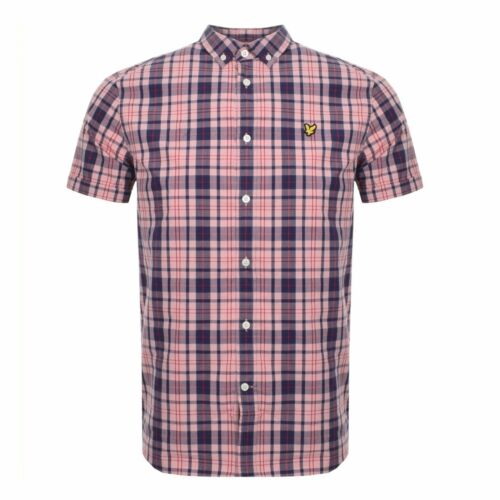 Lyle /& Scott Coral Pink Check Shirt Short Sleeve SW800V