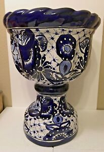 Image Is Loading Mexican Talavera Pottery Planter Copa Pedestal Pot Large
