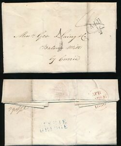 SCOTLAND 1836 LETTER...FUSHIE BRIDGE 2 LINE NAMESTAMP in BRIGHT BLUE
