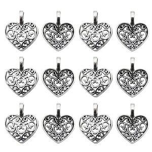 Wholesale-100-pcs-Antiqued-Silver-Alloy-Hollow-Love-Heart-Charms-Pendants-Crafts