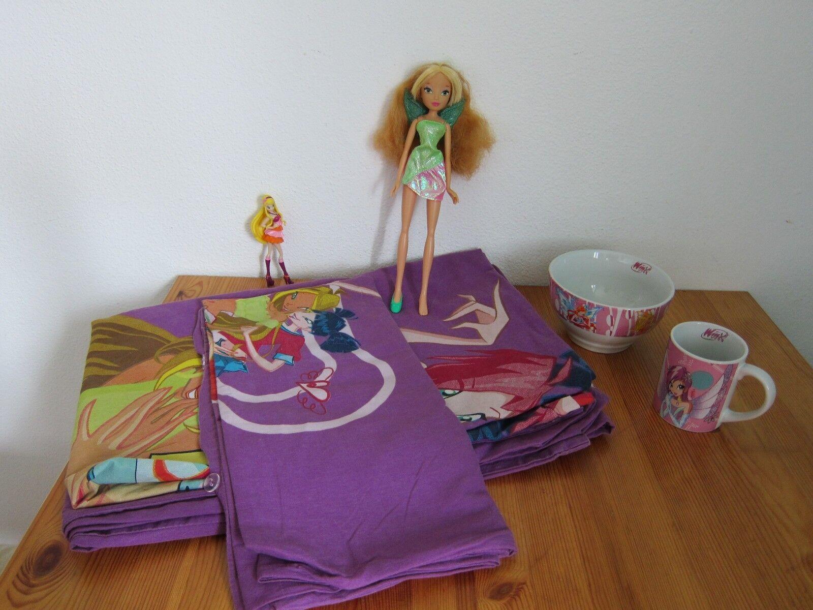 2 tlg Kinder Bettwäsche Winx Club Flora Stella 2 Puppen Barbie Tasse Müslischale