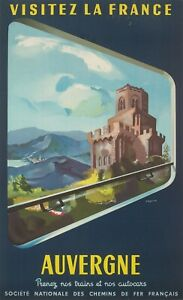 Original-Vintage-Poster-Gregoire-Auvergne-FRENCH-RAILWAY-Mountain-1952