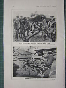 Details about 1915 WWI WW1 PRINT ~ ARTILLERY RECRUITS 18-POUNDER ~ MACHINE  GUN BELGIAN TRENCH
